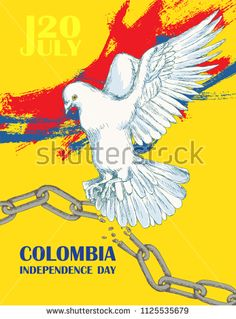 Colombia's independence day. July 20. National Patriotic holiday of liberation in Latin America. Hand drawing hatching. Background with Colombian tricolor. Vector image: купите это векторное изображение на Shutterstock и найдите другие изображения. Colombia Independence Day, Independence Day Poster, Begonia, Disney Characters, Fictional Characters, Drawing, Image, Design, Exercise
