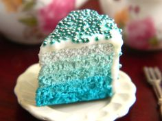 Blue Ombre Cake Slice Charm Turquoise Cake Charm by OhLuckyCharm Cute Polymer Clay, Cute Clay, Polymer Clay Charms, Mini Cakes, Cupcake Cakes, Turquoise Cake, Handmade Wedding Favours, Ombre Cake, Blue Cakes