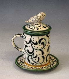 Lidded owl mug with saucer, 18 x 13 cm. Debra Kuzyk and Ray Mackie of Lucky Rabbit Pottery, Annapolis Royal, Nova Scotia.