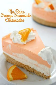 No Bake Orange Creamsicle Cheesecake You will find a delicious Nilla Cookie crust with layers of orange creamy cheesecake filling. Perfect for summer picnics and BBQ's. No Bake Orange Creamsicle Cheesecake I love making no bake cheesecakes. No Bake Desserts, Easy Desserts, Delicious Desserts, Dessert Recipes, Yummy Food, Picnic Recipes, Picnic Ideas, Picnic Foods, Jello Pudding Recipes