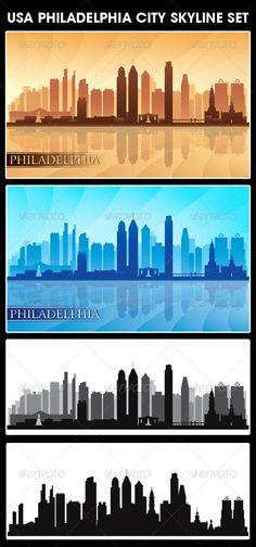 Philadelphia USA City Skyline Silhouettes Set  #GraphicRiver