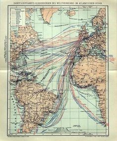 A German #map of Atlantic steamship routes from 1895 (via
