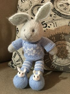 Little boy bunny in Nordic Sweater & bunny slippers. Patterns by Julie Williams, Little Cotton Rabbits