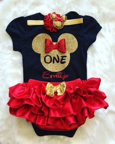 Perfect outfit for your little Minnie Mouse Fan 3 pc set includes 1.Bodysuit with Sparkle MInnie Silhouette design Name can be added (send message through Facebook or email) 2. All around bloomer skirt3.Headband or clip **Necklace and Shoes Sold Separately**Please allow 2 weeks for completion and 3-4 days in delivery o