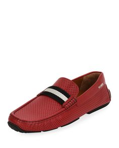BALLY Pearce Perforated Faux-Leather Driver, Red. #bally #shoes #