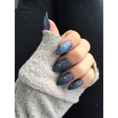 Galaxy hand painted fake stiletto nails ($25) ❤ liked on Polyvore featuring beauty products, nail care, nail treatments, nails and makeup