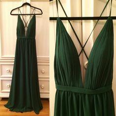 Dark Green Backless Prom Dress Beautiful green maxi dress with an open back, never worn (reposh) Dresses Backless