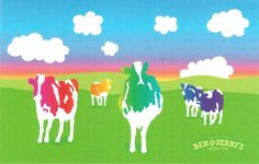 https://flic.kr/p/YL42vS   Postcrossing US-4962399   Colorful postcard with cows in a field advertising Ben & Jerry's Ice Cream.  Sent to a Postcrossing member in Ireland.