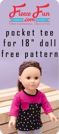 This Pocket Tee Shirt for 18 Doll is a perfect sewing project for an American Girl Doll. This free sewing pattern makes for a great handmade gift ideas for girls. This cute Pocket Tee Shirt for 18 Ropa American Girl, American Girl Crafts, American Doll Clothes, Sewing Doll Clothes, Sewing Dolls, Barbie Clothes, Sewing Pants, Doll Sewing Patterns, Doll Clothes Patterns
