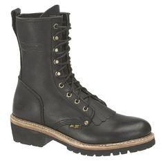 Men's 10 inch Ad Tec Fireman Logger Boots Black, BLACK, 10D ** Click image for more details.