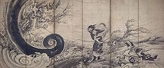 Transcendent Attacking a Whirlwind,Soga Shohaku 風仙図屏風 曽我蕭白