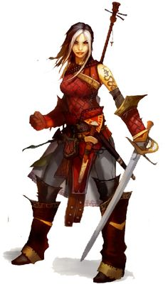 Here's Paizo'sAmeiko, a recurring character in their Pathfinder adventures.  Nice lute!