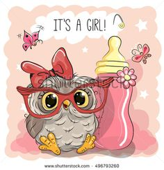 Cute Cartoon Owl girl with feeding bottle