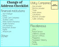 Change Of Address Checklist & Moving/Packing Tips Moving Day, Moving Tips, Moving House, Moving Checklist, Moving Hacks, Household Checklist, Household Tips, Move On Up, Big Move