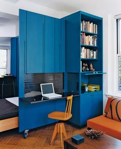 Very ingenious - unfolding office and murphy bed...great use of small space and I love the color. #Murphy Beds #Unfolding Furniture #Degin #Desk #Small Spaces