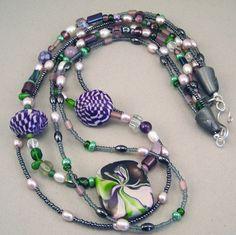 Handmade Choker  - Swirled Purple and Green 3-Strand No. 115. $52.00, via Etsy.