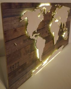 World Map XXL Made Of Wood With Lighting Vintage By Merkecht(Art Diy Ideas)