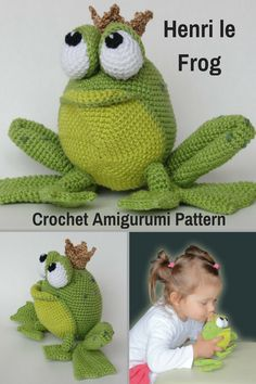 Henri le Frog is a sweet crocheted amigurumi doll. Rumor has it that he just might turn into a Prince if the right Princess kisses him. You can create your own Henri le Frog with this downloadable pattern. #crochet #amigurumi #crochetdoll #ad #amigurumidoll #amigurumipattern #frog #prince #instantdownload