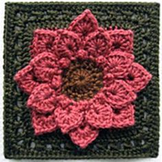 """There has been some interest lately in using the crocodile stitch in a """"flower"""" afghan block. It is usually worked in rows, not rounds, but the scales look so much like petals that using them in a flower seems an obvious step. This variation on the original stitch is my attempt at incorporating this popular motif into a square, worked-in-the-round afghan block. To me, it looks like a dinner-plate dahlia, just beginning to open, so that's what I'm calling it – the Croco-Dahlia, however, the…"""