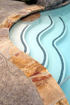 If an inground swimming pool is created of concrete, it will require pool coping ideas, which is a cap for the side of the pool. Swimming Pool Tiles, Swimming Pool Landscaping, Pool Decks, Pool Coping, Pool Steps Inground, Hardscape Design, Landscaping Design, Cheap Pool, Pool Finishes