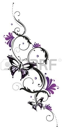 Tribal with butterfly, black purple