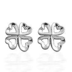 925 Sterling Silver Multi Heart Clover Stud Earrings