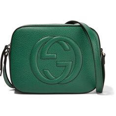 Gucci Soho Disco textured-leather shoulder bag (1,400 SGD) ❤ liked on Polyvore featuring bags, handbags, shoulder bags, purses, emerald, green purse, gucci handbags, cell phone shoulder bag, shoulder hand bags and green shoulder bag
