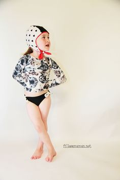 Jalie 3136 turned into a rash guard, paired with 3242 as bikini bottom by Filles à Maman - Valentine Black fabric by FunkiFabrics https://funkifabrics.com/product/1647
