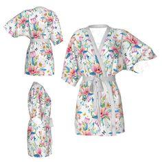 Spring bouquetKimono robeflloral robewhite robecolorful