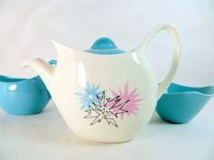 Retro Atomic Batchelor Teaset, Midwinter Modern Fashion Shape 'Quite Contrary' Candy Pink, Aqua, Grey Starburst Teapot Creamer & Bowl1957 by keepsies on Etsy - £48.00