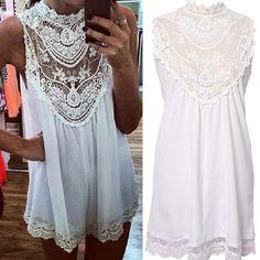 2014 el envío corto atractivo Mujeres vestido blanco sin mangas ocasional de encaje de flores mini vestido flojo partido del verano de la playa del club Vestidos gratuito en Vestidos de Moda y Complementos en AliExpress.com | Alibaba Group