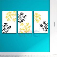 Flower  Art Print Canvas Painting Poster, Wall Pictures For Living Room Home Decoration,  set of 3