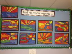 Ted Harrison inspired Inuit Art - Pastel crayons, black wax crayon/charcoal. Children are to fill in all gaps!