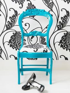 NinjaDiva: Turquoise Chair Makeover .... make stencil from large-scale wallpaper and stencil the chair's fabric to match.