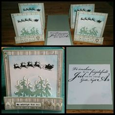 Christmas cards 2015. This are the first I made. CS Reprint /Paper Accents Lily pond and Bazzill white. DP Maja design vintage frost basics 22nd of December. Distressed with Tim Holtz broken china. Dies Magnolia embossed with white powder and wink of Stella clear brush. Cute heart charm and rhinestones in two colours . Lovely ribbon from The Range. Santa in a sledge and both text rubber Stamps Inkido. Ink versafine onyx black. Made by Kirsi Arvidsson