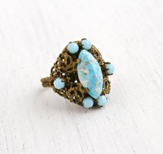SALE - Vintage Art Deco Blue Glass Stone Ring - 1930s Czech Brass Adjustable Filigree Baby Blue Art Glass Statement Costume Jewelry by Maejean Vintage on Etsy, $46.00