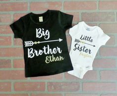 Here is a onesie that says Little Sister with a heart arrow and your little ones name on it, and a T-Shirt that says Big Brother with an arrow and your other little ones name on it. When checking out please leave me a message with the following information: Size of Onesie: nb, 0-3m, 3-6m, 6-9m, 12m, 18m 24m Size of T-Shirt: 2T, 3T, 4T, 5T, Youth Sm, Youth Med, Youth Lg, Youth XL Big Brother Little Sister, Little Sisters, Sister Shirts, Heart With Arrow, First Names, Little Ones, Onesies, Bathroom Ideas, Neutral