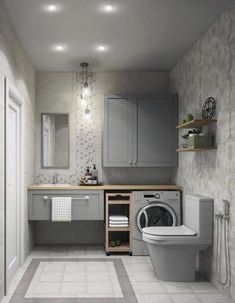 Most Popular Small Bathroom Remodel Ideas on a Budget in 2018 This beautiful look was created with cool colors, and a change of layout. Modern Laundry Rooms, Laundry Room Design, Laundry In Bathroom, Master Bathroom, Shower Bathroom, Small Space Bathroom, Bathroom Design Small, Bathroom Interior Design, Small Spaces