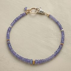 """METALS IN THE MIX BRACELET--Tanzanite rondelles circle start to finish, interspersed with a smattering of 18kt vermeil, 14kt gold filled and sterling silver beads. Lobster clasp. Handcrafted in USA. Approx. 7-1/2""""L."""