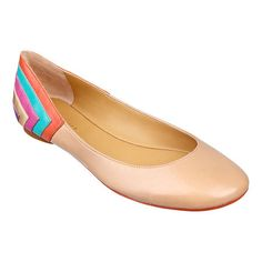 Round-toe ballerina flat with multi-color detailing. Nine West.