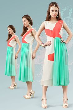 White and green stylish evening wear georgette kurtis and tunic 6932