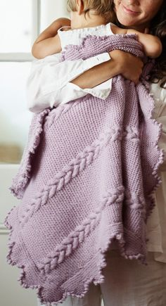 Knitting Pattern for Lyla Baby Blanket - Lyla features garter stitch with panels of cable,a border of garter stitch points and a picot edge Blanket size is approx. in width and approx. in height. Knitted Afghans, Knitted Baby Blankets, Baby Girl Blankets, Easy Knit Baby Blanket, Baby Blanket Size, Knitting For Kids, Baby Knitting Patterns, Free Knitting, Blanket Patterns