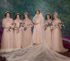 Wedding of Jeanette MacDonald - colorized by D' Lynn.  Do you see Ginger Rogers on the far right?