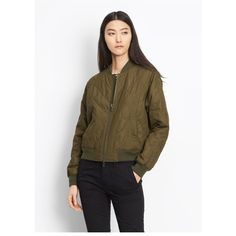 Vince Quilted Bomber ($194) ❤ liked on Polyvore featuring outerwear, jackets, bomber, natural, lightweight jackets, cropped bomber jackets, quilted bomber jackets, quilted jackets and brown jacket