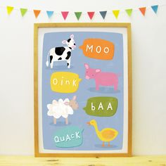 Hello Animals poster/print (blue) by PaperPenknife on Etsy