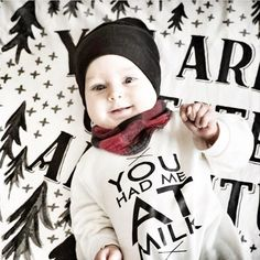 You had me at milk baby romper - Litlte Beans Clothing. @littleandluxeshop  hipster baby, baby boy clothes, baby fashion.