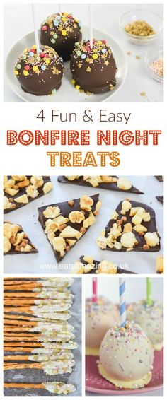 4 Fun and Easy Treat recipes for Bonfire Night with chocolate apples popcorn bark and edible pretzel sparklers - fun food for kids from Eats Amazing UK Hot Dog Recipes, Fall Recipes, Sweet Recipes, Budget Recipes, Autumn Art Ideas For Kids, Food Art For Kids, Bonfire Night Treats, Yorkshire Pudding Batter, Chocolate Apples