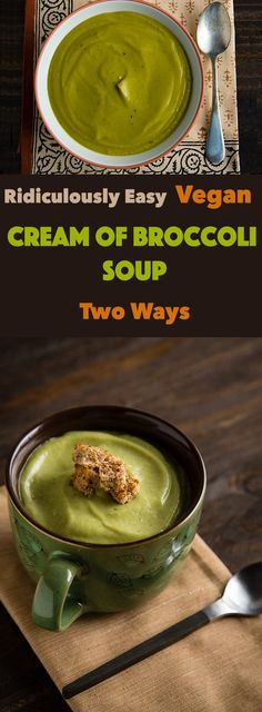 You can make this creamy, ridiculously easy, vegan broccoli soup two ways, curry spiced or savory.