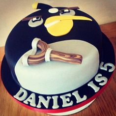 Black Angry Bird cake by Cuppies 'n' Cream