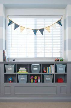 boys room- striped walls, bunting, storage.